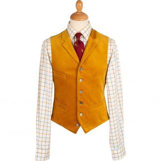 Cordings Gold Collared Velvet Waistcoat Main Image