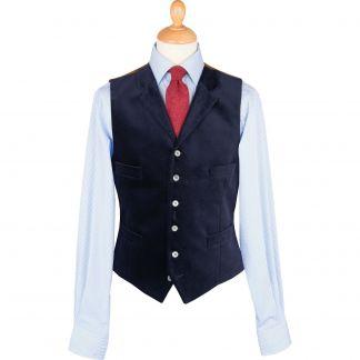 Cordings Navy Collared Velvet Waistcoat Main Image