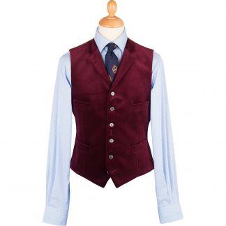 Cordings Wine Collared Velvet Waistcoat Main Image