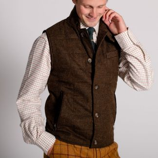 Cordings The Ebury Brown Shetland Waistcoat Different Angle 1