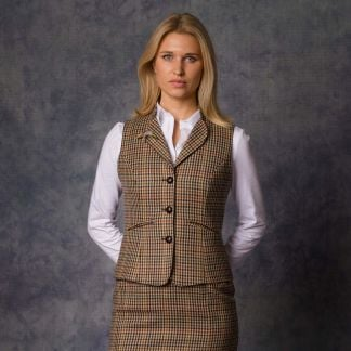 Cordings Wincanton Tweed Fitted Collared Waistcoat Different Angle 1