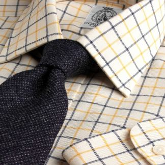 Cordings Yellow Navy Medium Check Tattersall Shirt Main Image