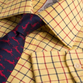 Cordings Yellow Red Pheasant Check Shirt  Main Image