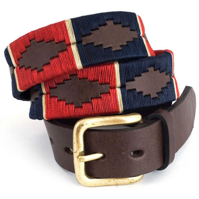 Navy Red Argentinian Polo Belt