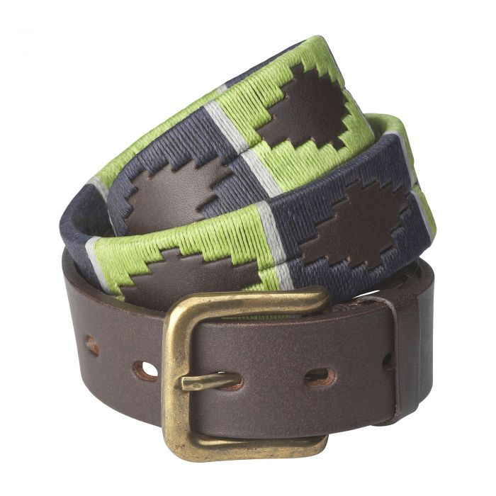 Navy Lime Argentinian Polo Belt