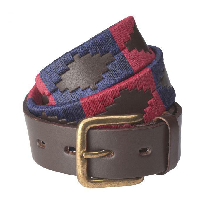 Red Navy Argentinian Polo Belt