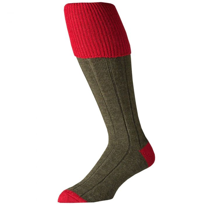 Merino Shooting Stocking Olive with Red tipping