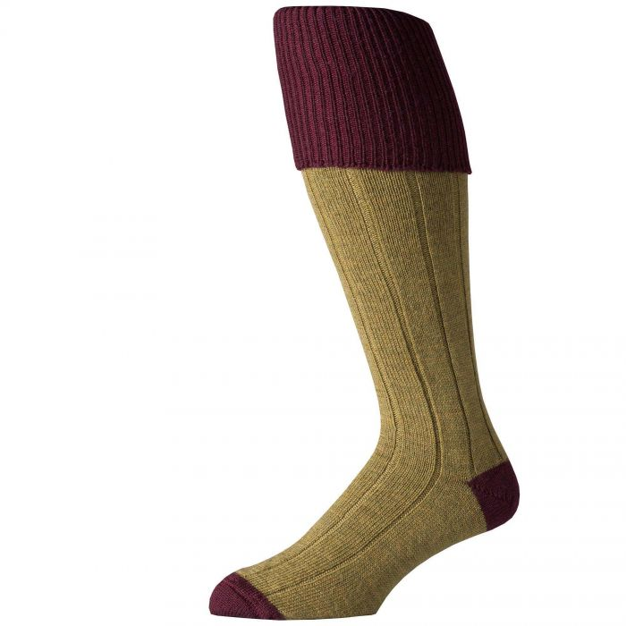 Merino Shooting Stocking Green with wine tipping