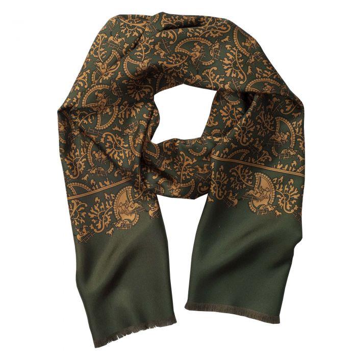 Green Hunting Paisley Silk Scarf