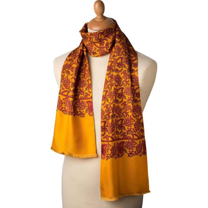 Orange Hunting Paisley Silk Scarf