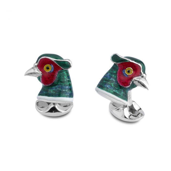 Pheasants Head Solid Silver Cufflinks