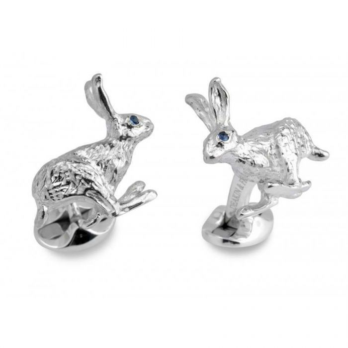 Sterling Silver and Sapphire Hare Cufflinks