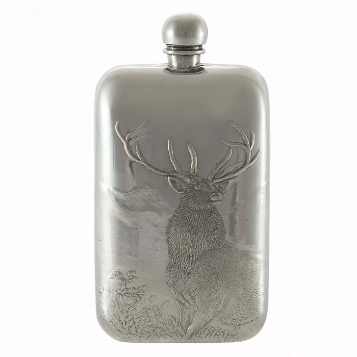 6oz Monarch of the Glen Pewter Flask
