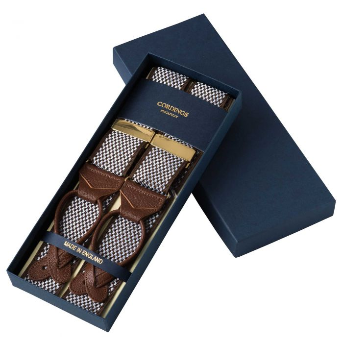 Brown Blue Chequerboard Ribbon Braces