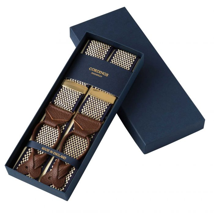 Navy Chequerboard Ribbon Braces