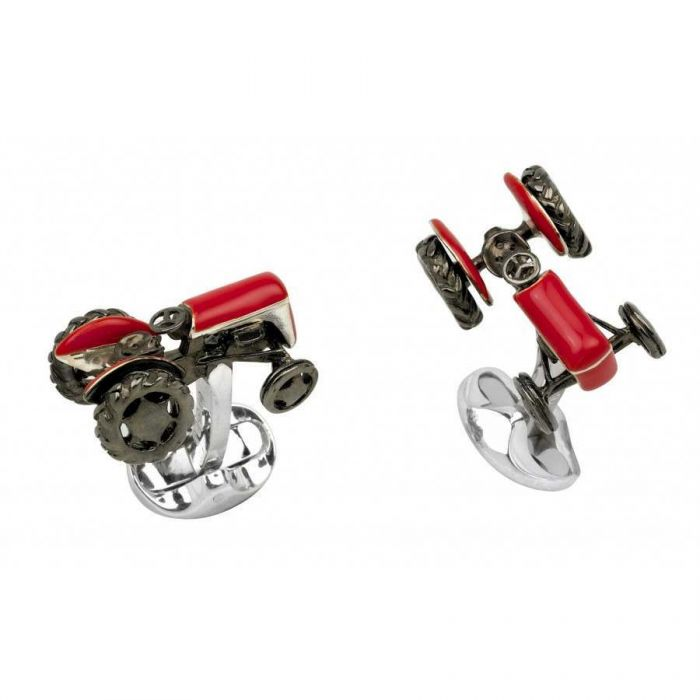 Vintage Tractor Cufflinks with Movable Wheels