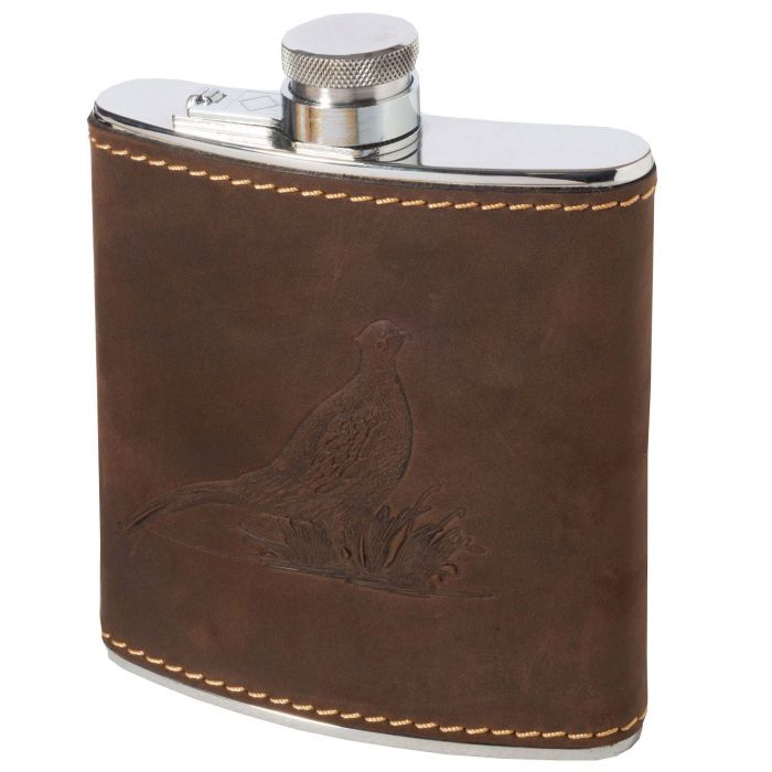 Hinged Leather Embossed 6oz Flask