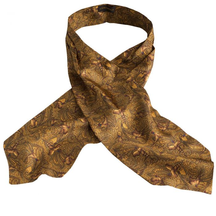 Gold Pheasant Silk Cravat