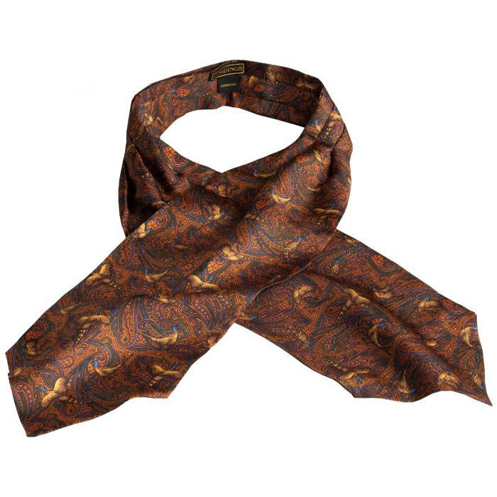 Orange Pheasant Silk Cravat