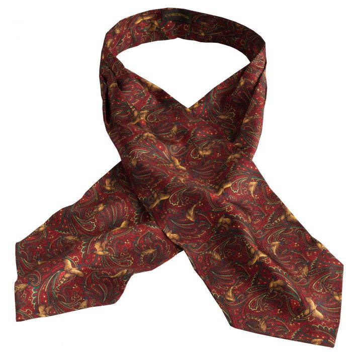 Red Pheasant Silk Cravat