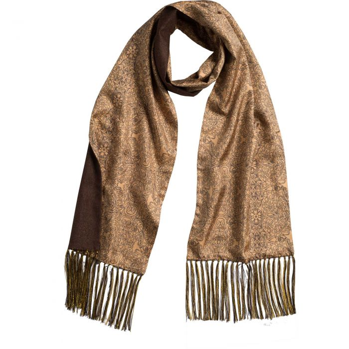 Gold Engraved Scroll Silk and Cashmere Scarf
