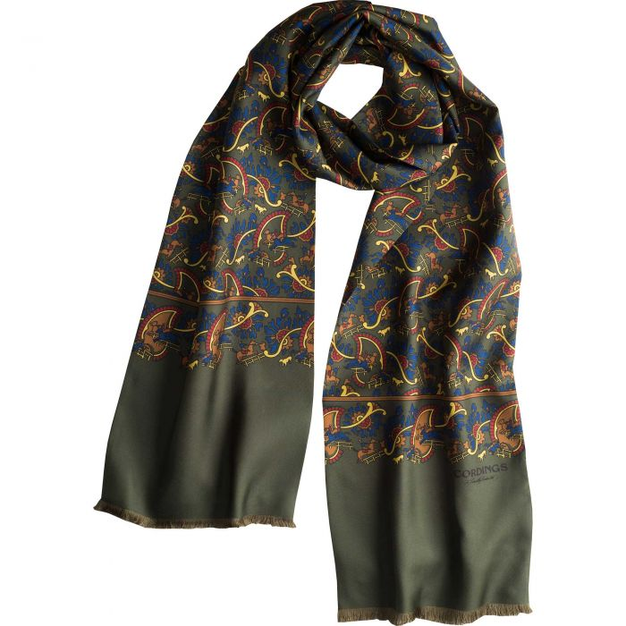 Olive Chasing Paisley Silk Scarf