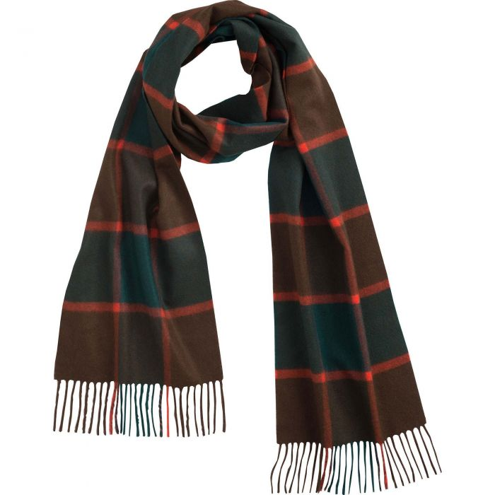 Green Brown Horsforth Cashmere Scarf