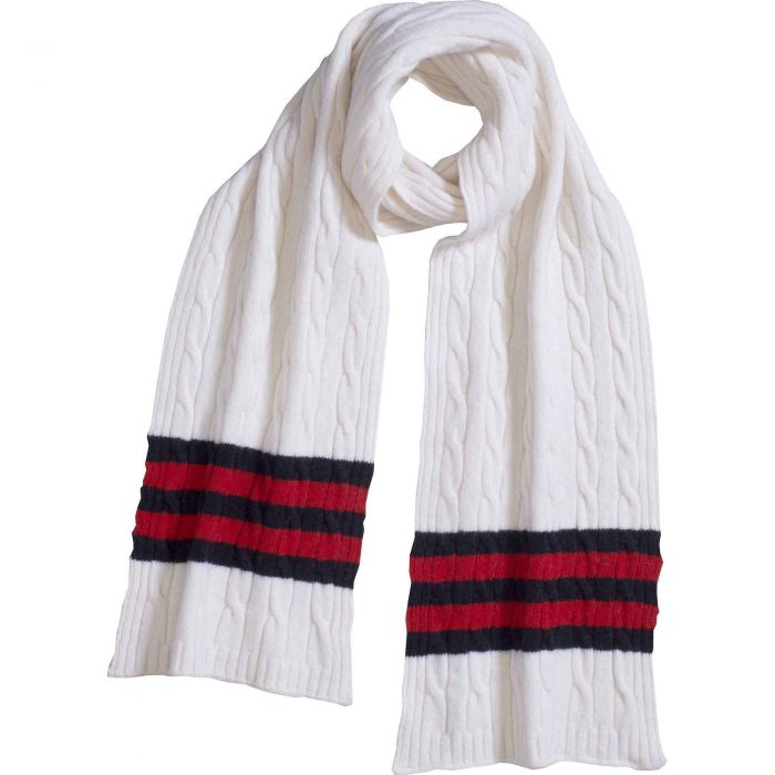White Cable Stripe Lambswool Scarf