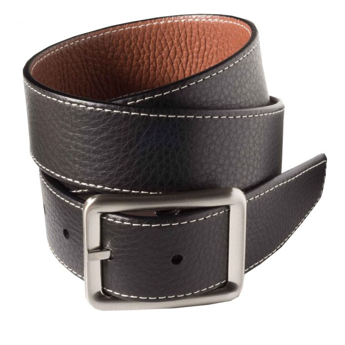 Black Brown Calf Grain Reversible Belt