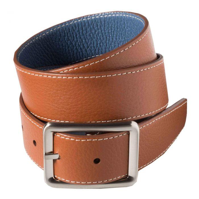 Brown Blue Calf Grain Reversible Belt