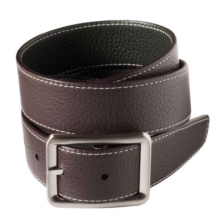Brown Green Calf Grain Reversible Belt