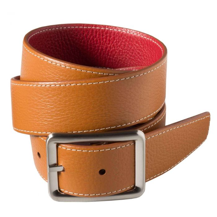 Brown Red Calf Grain Reversible Belt