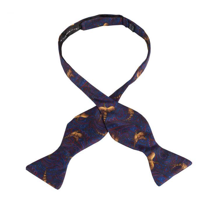 Blue Pheasant Silk Bow Tie