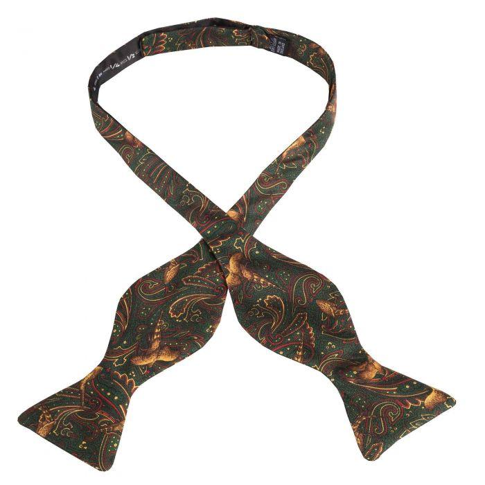 Green Pheasant Silk Bow Tie