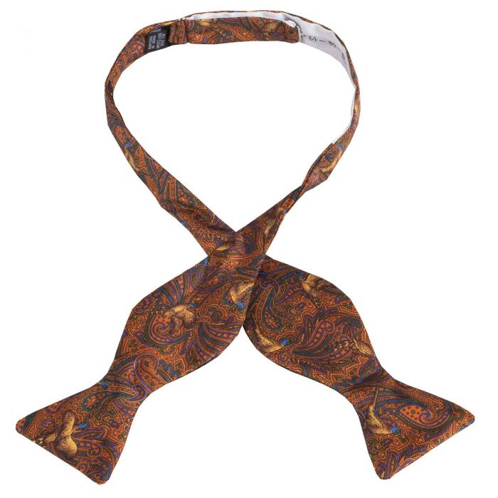 Orange Pheasant Silk Bow Tie