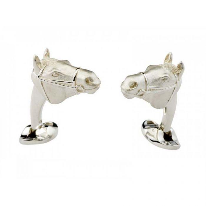 Silver Winning Horse Head Cufflinks