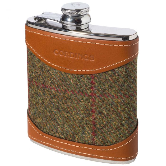 Thorner Check British Leather 6oz Flask