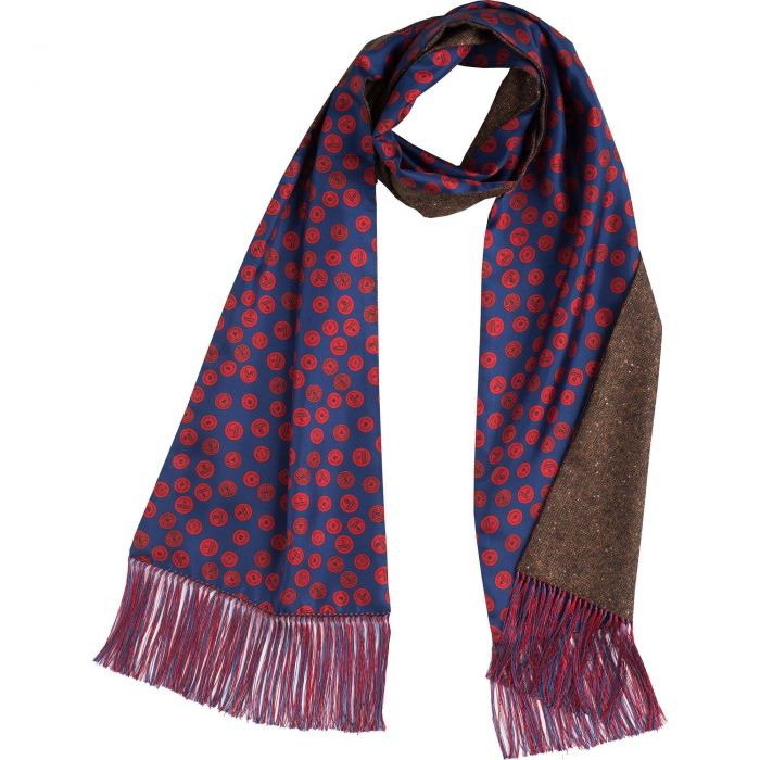 Navy Cartridge Cap Silk and Donegal Reversible Scarf