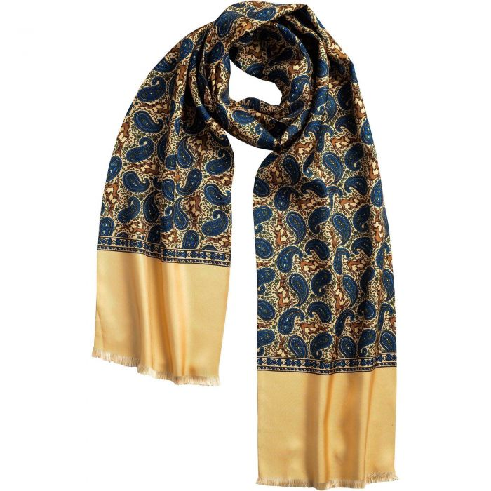 English Gold Madder Print Stag Scarf