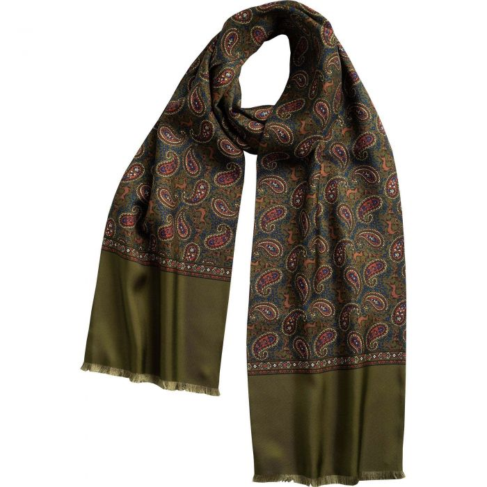 English Sage Green Madder Print Stag Scarf
