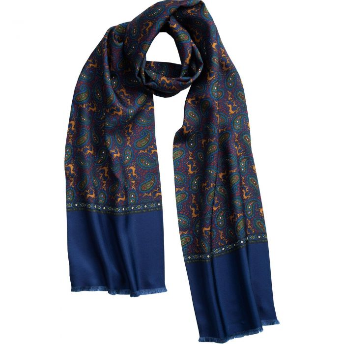 English Navy Madder Print Stag Scarf