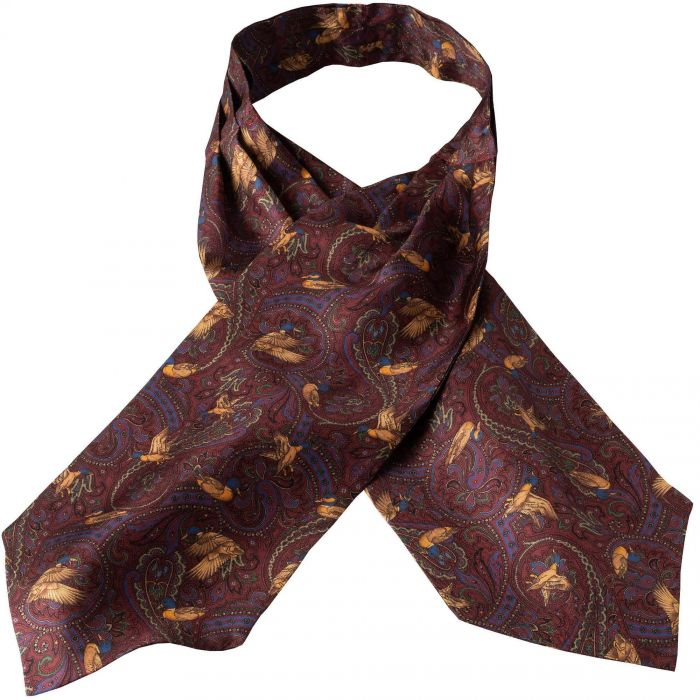 Wine Duck Silk Cravat