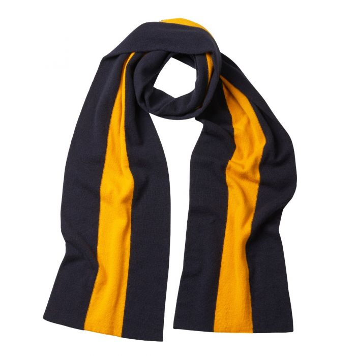 Navy Yellow Cashmere College Scarf