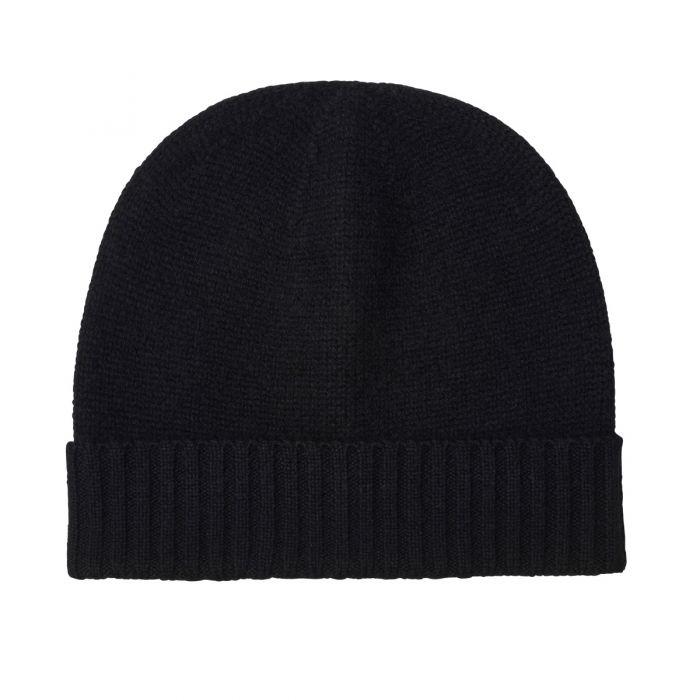 Black 4 Ply Cashmere Beanie Hat
