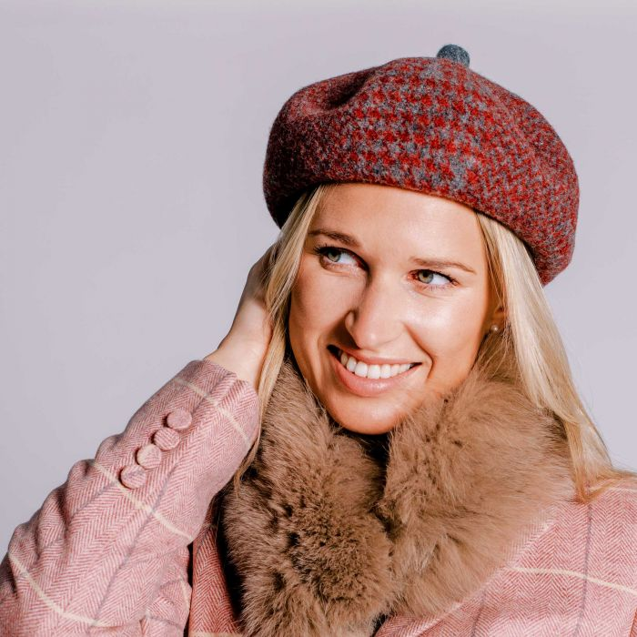 Red Houndstooth Wool Beret