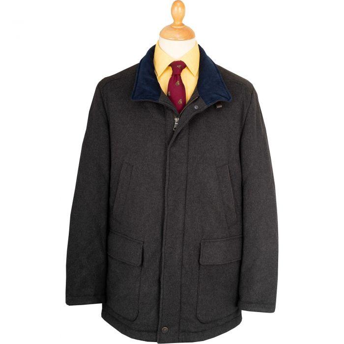 Olive Melton Wool Waterproof Paddock Jacket