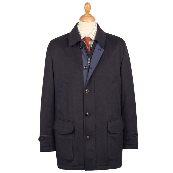 Navy Harold Wool & Cashmere Waterproof Coat