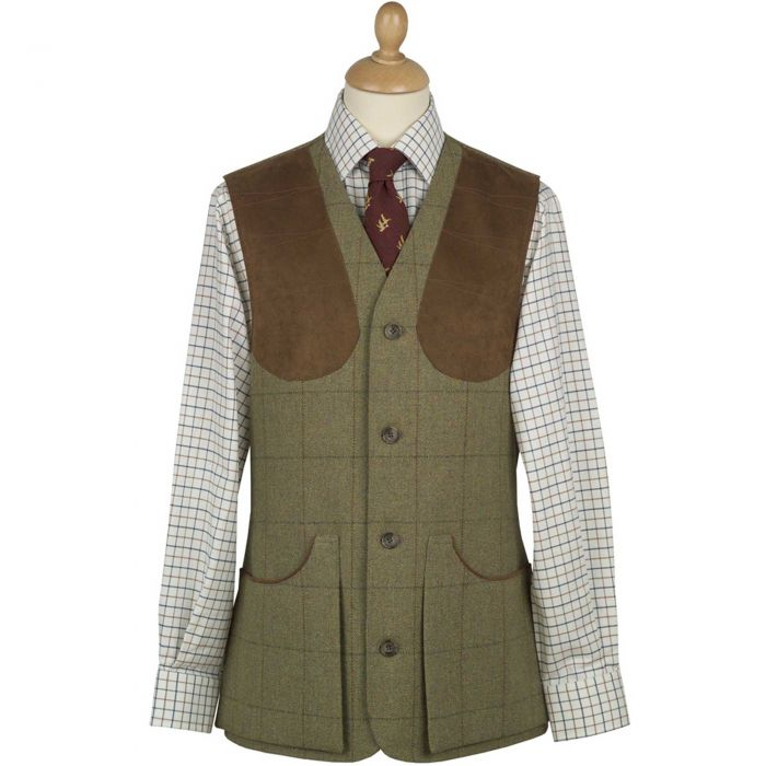 21oz Windowpane Tweed Shooting Waistcoat
