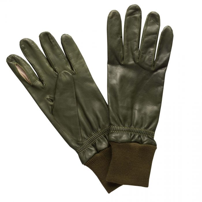 Green Leather Shooting Gloves (Left Handed)