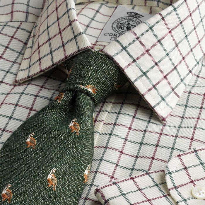 Green Wine Medium Check Tattersall Shirt